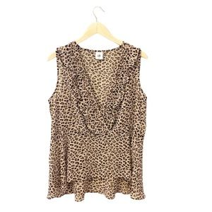 Cabi Leopard Print Ruffle Blouse- Large